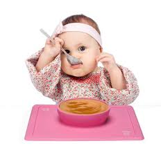 Baby with Feeding Mat